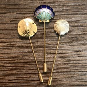 Nautical Themed Seashell Sandollar Stick Pins